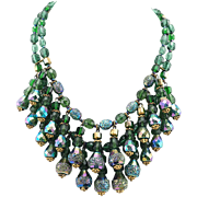 Vintage Bib Necklace - Drippy Glass Beaded Necklace - West Germany Necklace - Vintage Beaded Necklace With Green Textured and Iridescent Beads