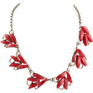 Unique Vintage Mid-Century Thermoset Necklace in Cherry Red