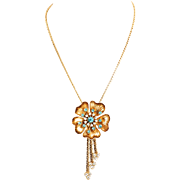 Vintage Flower Necklace With Blue Crystals and Dangles