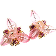 1960's Vintage Beaded Earrings in Pink With Crystals