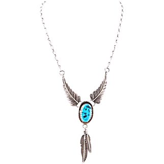 Vintage Navajo Necklace With Turquoise by Gary Edwards