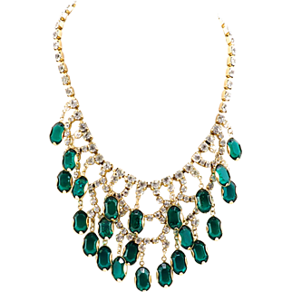 Drippy Vintage Crystal Bib Necklace in Emerald Green