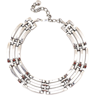 Heavy Vintage Silver-Tone Machine Age Design Choker Necklace