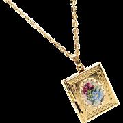 Vintage Petit Point Book Locket Necklace in Pastel Colors