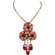 Vintage Celluloid Necklace With Red Glass Dangles and Brass Chain