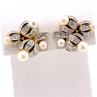 Vintage Nina Ricci Flower Earrings With Crystals and Faux Pearls
