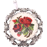 Vintage Petit Point Pendant With Roses in Silver-tone