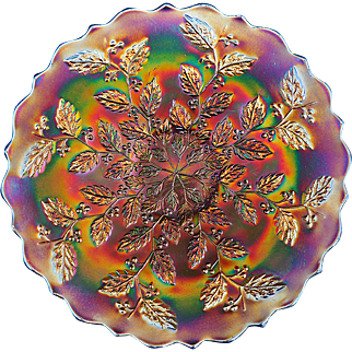 Gorgeous Old Fenton Holly and Berry Carnival Glass Plate Great Iridescence