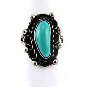 Native American Sterling Silver Turquoise Ring Size 5