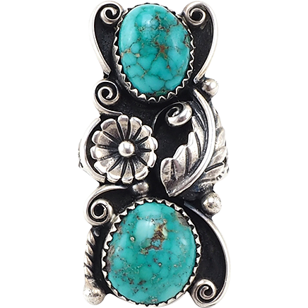 Vintage Native American Ring in Sterling Silver and Turquoise With Squash Blossom