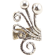Big Abstract Vintage Silver Ring Octopus Inspired