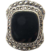 Black Onyx and Marcasite Sterling Silver Art Deco Ring