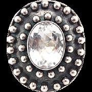 Huge Textural Vintage Silver Ring With Cushion Cut Quartz