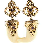 Vintage Selro Earrings Claws With Gold Details