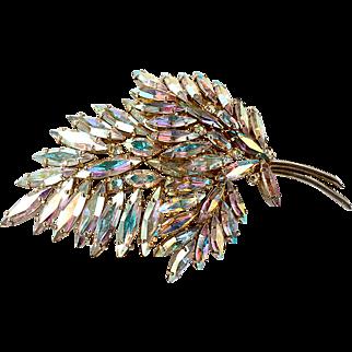 Vintage Sherman Leaf Brooch In Aurora Borealis Crystal