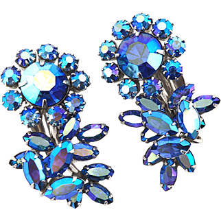 Vintage Sherman Earrings - Sherman Jewelry - Vintage Bridal Earrings - Flower Earrings - Big Rhinestone Earrings - Blue Rhinestone - Rare Design