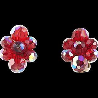 Vintage Deep Red Sherman Beaded Earrings