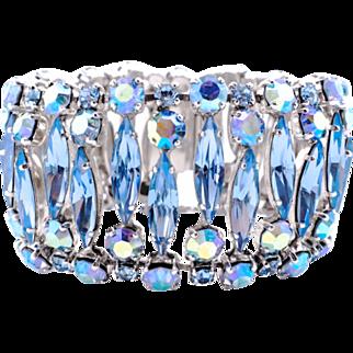 Gorgeous Wide Blue Sherman Bracelet With Aurora Borealis Crystals
