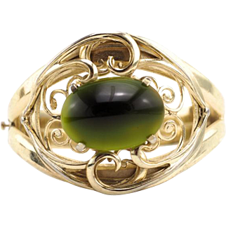 Vintage Hinged Whiting and Davis Bracelet With Green Art Glass Stone