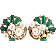 Vintage Trifari Earrings With Green Speckled Stone and Faux Pearls