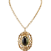 Long Intricate Vintage Whiting and Davis Necklace With Moss Green Art Glass Pendant