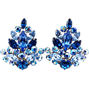 Big Vintage Sherman Earrings With Sapphire Blue Crystals and Aurora Borealis Stones