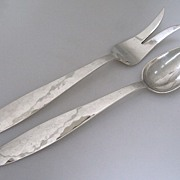 Arts & Crafts Salad Serving Set Swedish Modern Allan Adler 1960 Sterling Silver