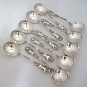 Marechal Niel Gumbo Soup Spoons Set Of 10 Sterling Silver Durgin 1896