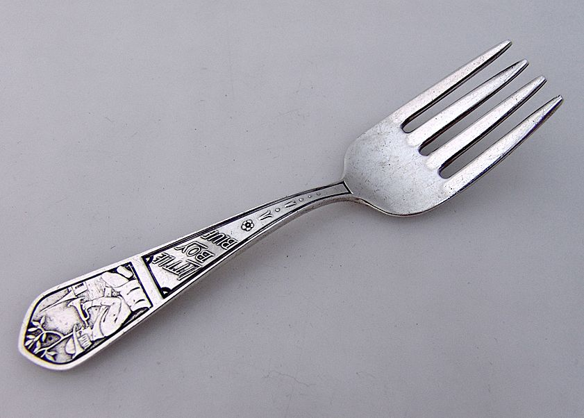 Sterling Silver Nursery Rhyme Baby Fork Little Boy Blue 1920