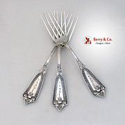 Whiting Ivy 3 Dinner Forks Sterling Silver 1880