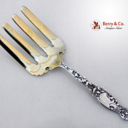 Heraldic Asparagus Serving Fork Whiting Sterling Silver 1880