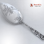 Pie Server Floral Repousse Sterling Silver 1880