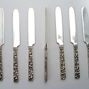 Repousse Square Handle Set of 7 Fruit Knives Sterling Silver Kirk and Son 925/1000