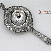 Repousse Tea Strainer Kirk and Son Sterling Silver 1940