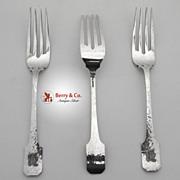 Norman Hammered 3 Luncheon Forks Shreve Sterling Silver 1909