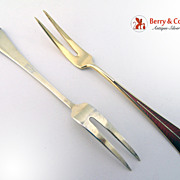 Red Guilloche Enamel 2 Lemon Forks Sterling Silver David Andersen