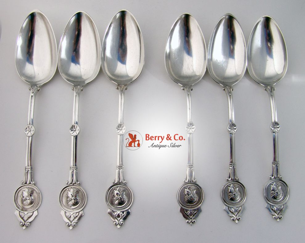 Medallion set of 6 tablespoons coin silver schulz and for 6 table spoons
