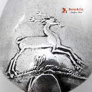 Stag Backstamp Colonial Teaspoon 1780 Coin Silver Monogram MI