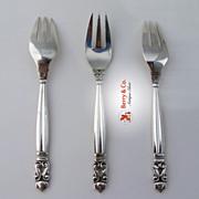 Acorn 3 Fish Forks Georg Jensen Sterling Silver 1910-1925