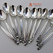 Acorn 12 Mocha Spoons Sterling Silver Georg Jensen 1945