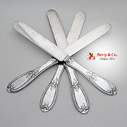 Olive Coin Silver All Silver Breakfast or Flat Knives Set of 4