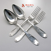 Chicago Tablespoons 2 Dinner Forks 2 Coin Silver Whatley Edwards 1850 Monogram KCQ Monogram