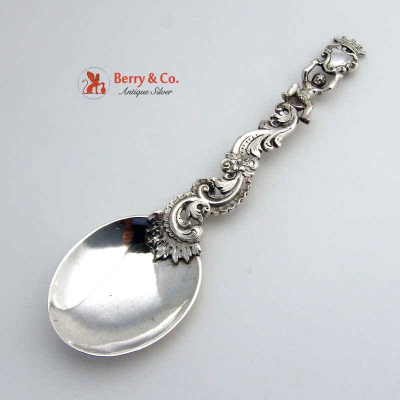 Figural Serving Spoon 800 Solid Silver 1880