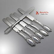 Diamond Set of 6 Flat Handle Knives Sterling Polhemus Tiffany 1867