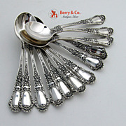 Chocolate Spoons 12 Old Baronial Gorham Sterling SIlver 1898 No Monograms