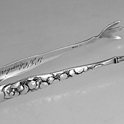 Whiting Berry Sterling Silver Sugar Tongs 1880