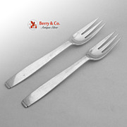 Porter Blanchard Oslo Luncheon Forks Pair Hand Made 1940 Sterling Silver