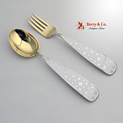 Christmas Spoon and Fork 1945 Michelsen Sterling Silver