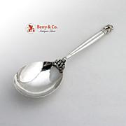 Acorn Hammered Serving Spoon Georg Jensen Sterling Silver 1945