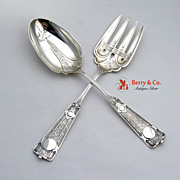 Ribbon Salad Serving Set J R Wendt Sterling Silver 1870